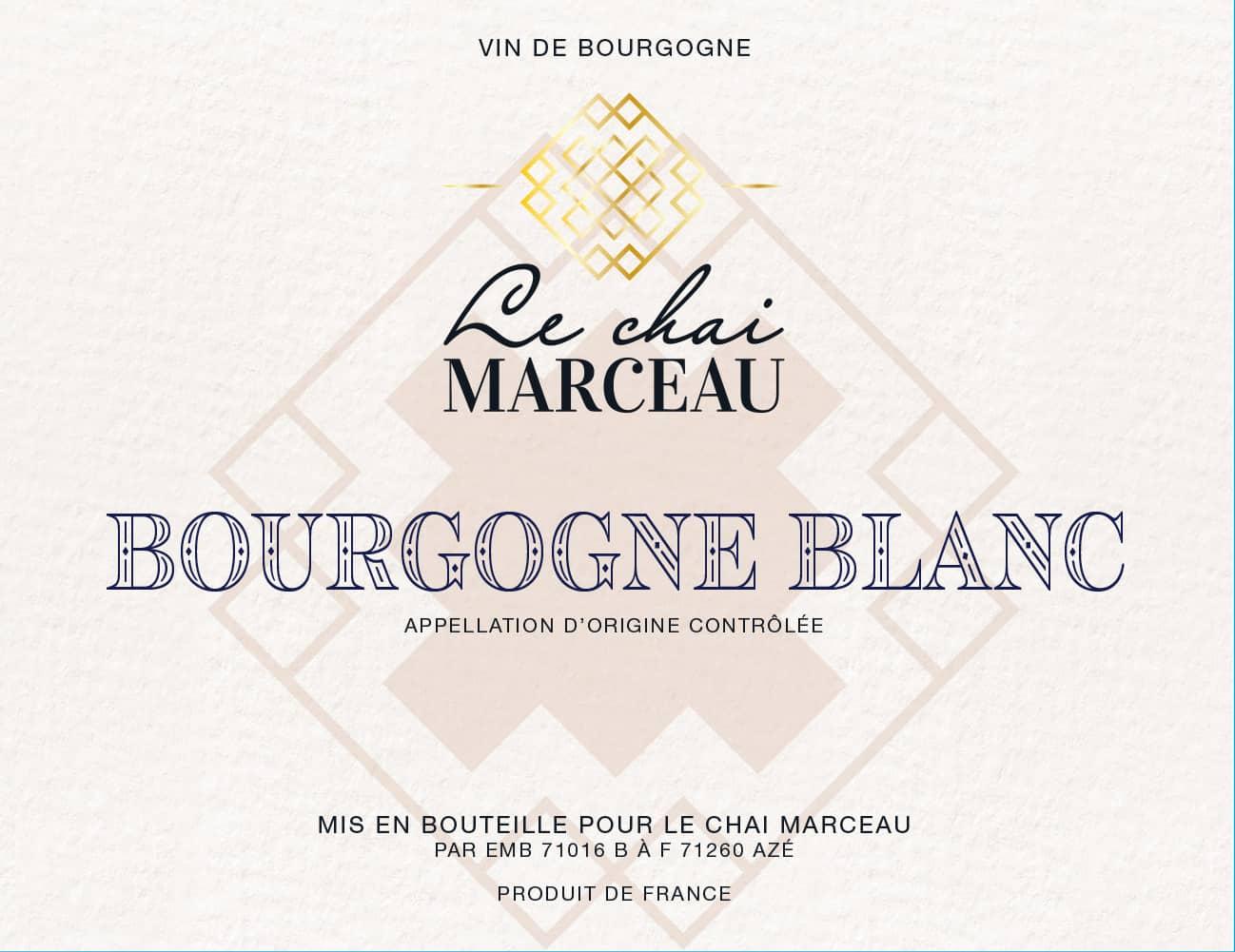 Front Label of Le Chai Marceau Bourgogne Blanc Chardonnay wine