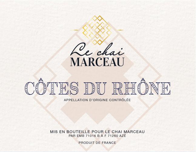 Front Label of Le Chai Marceau Côtes du Rhône wine