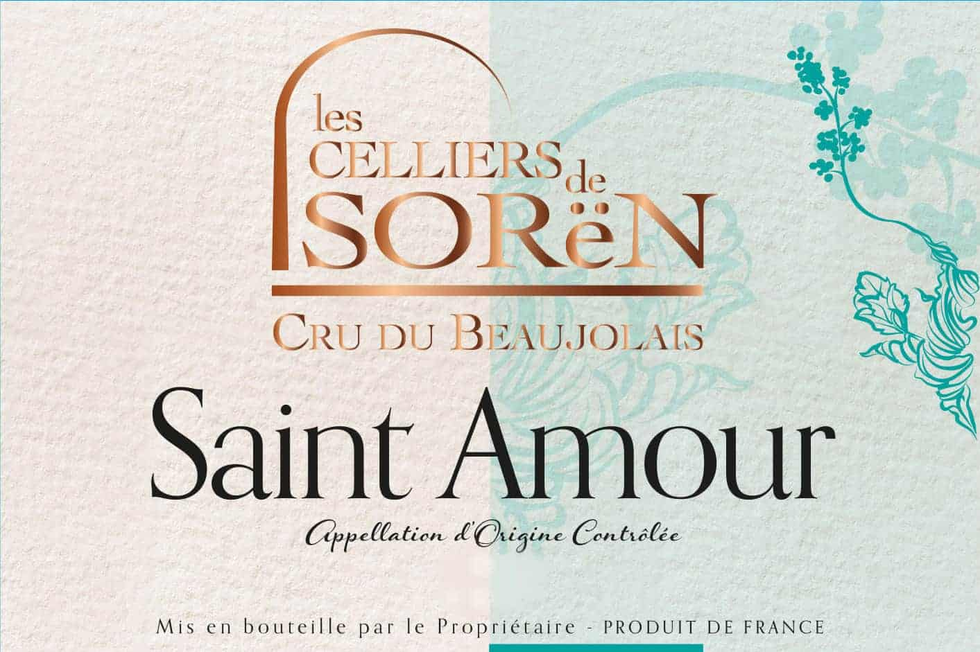 Label of Les Celliers de Sorën Saint Amour wine from Beaujolais