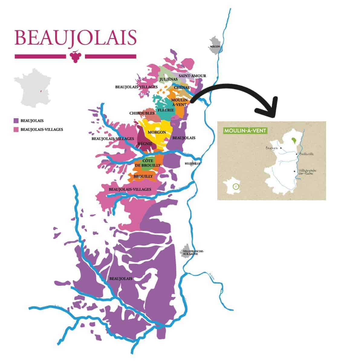 Map of Beaujolais with a map of Moulin à Vent inserted