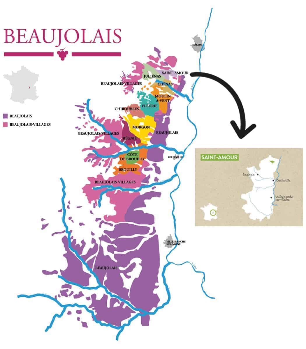 A map of Beaujolais with an inserted map of Saint-Amour