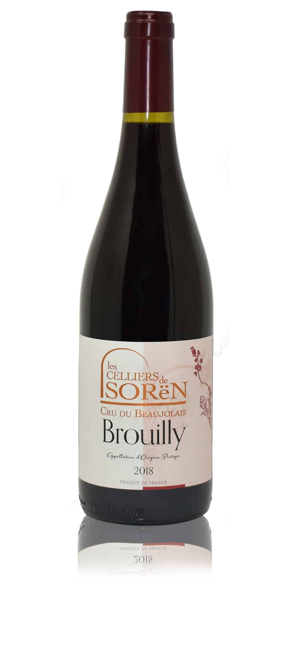 A bottle of Les Celliers de Sorën Brouilly from Beaujolais