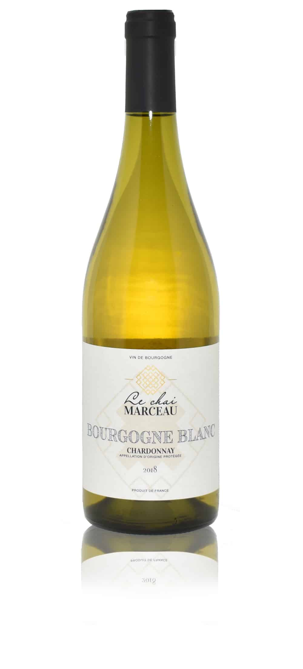 A bottle of Le Chai Marceau Bourgogne Blanc Chardonnay