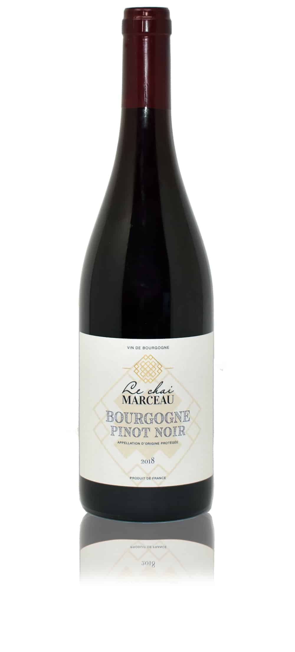 A bottle of Le Chai Marceau Pinot Noir wine