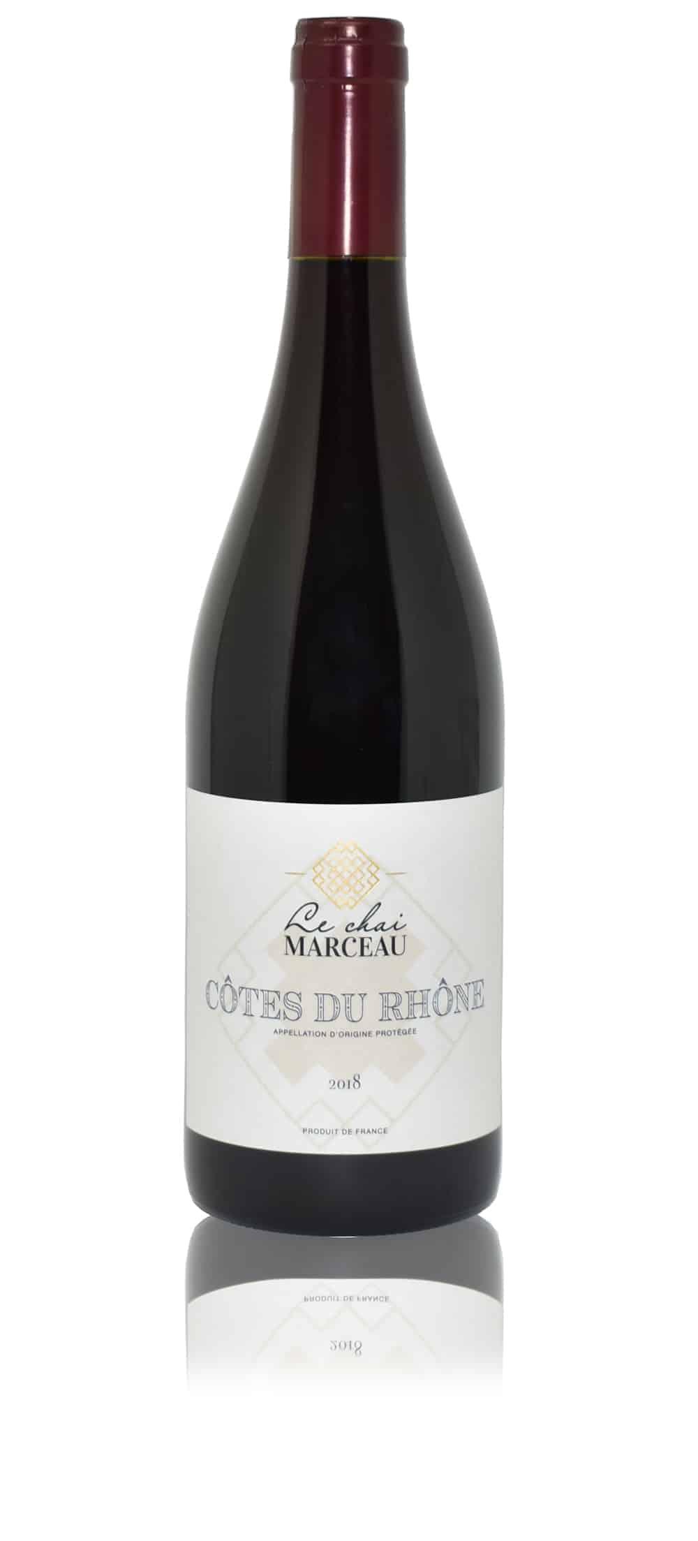 A bottle of Le Chai Marceau Côtes du Rhône wine
